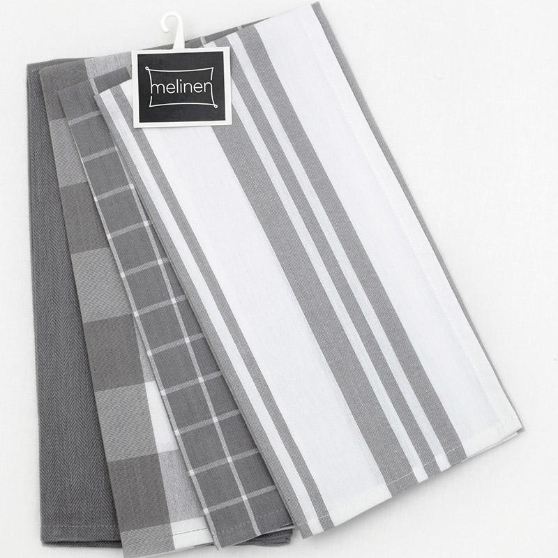Πετσέτες Κουζίνας (Σετ 4 Τμχ) 50X70 Melinen Mix Grey