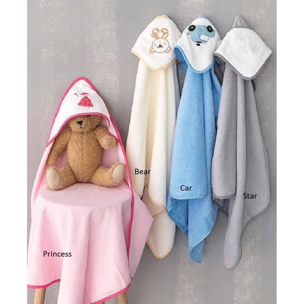 Πετσέτα με Κουκούλα (Τμχ) 75×75 Princess New Baby Palamaiki Pink