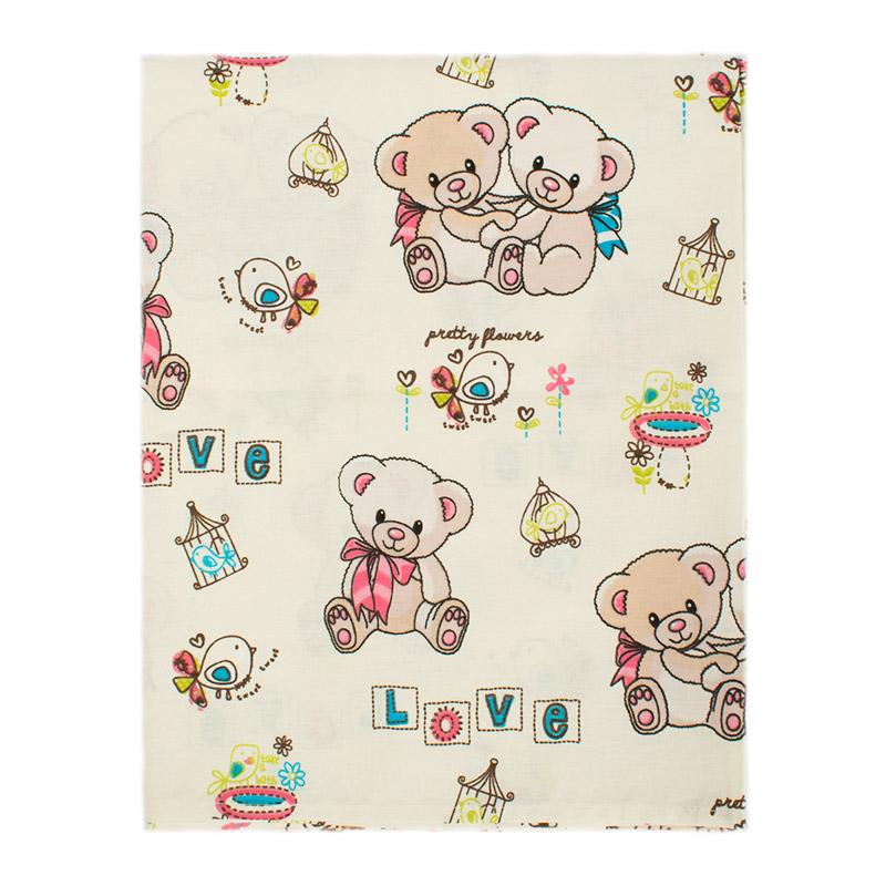 Σεντόνια Κούνιας (Σετ) 120X160 Dimcol Pretty Bear 92 Ecru Χωρίς Λάστιχο
