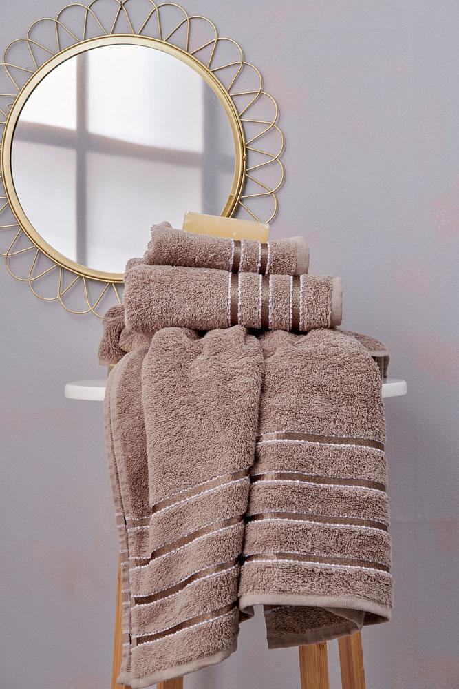 Πετσέτες Μπάνιου (Σετ 3 Τμχ) Towels Collection Ribbon Brown