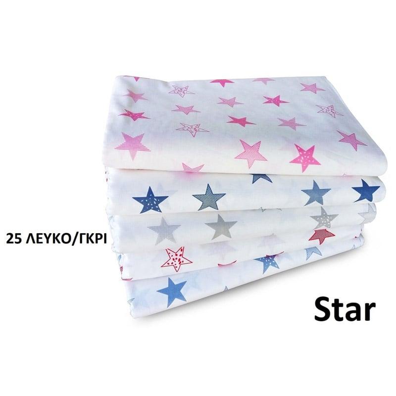 Σεντόνι Λίκνου 80X110 Dimcol Star 25 Γκρι Χωρίς Λάστιχο