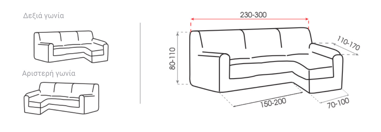 καναπέ γωνία με κοντό μπράτσο